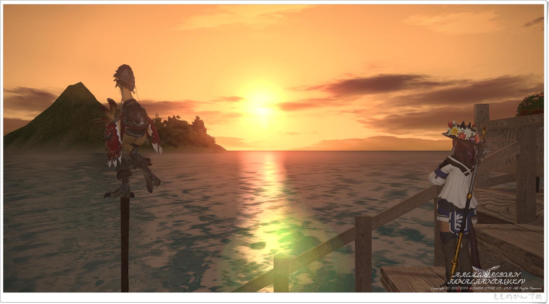 綺麗な夕日と